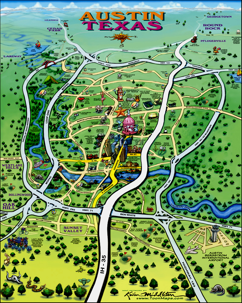 austin texas tourist map  austin texas • mappery -