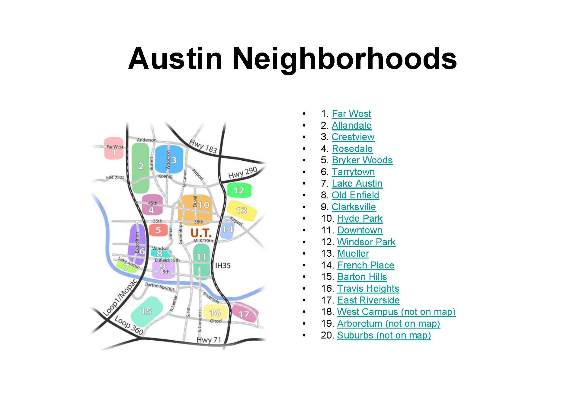 Austin Tx Neighborhoods Map  Austin Tx USA  Mappery