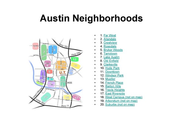 Neighborhood Map Austin Tx Austin Tx Neighborhoods Map   Austin Tx USA • mappery
