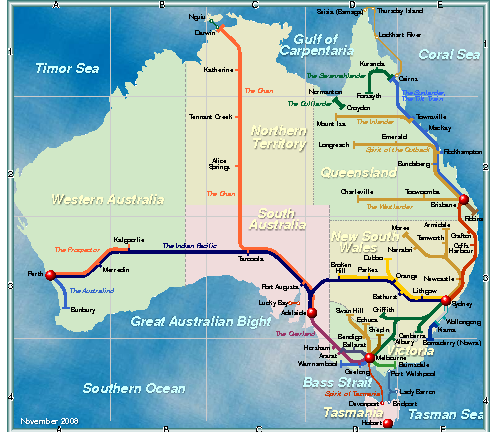 Map Of Australia Pdf.Australia Rail Map Australia Mappery