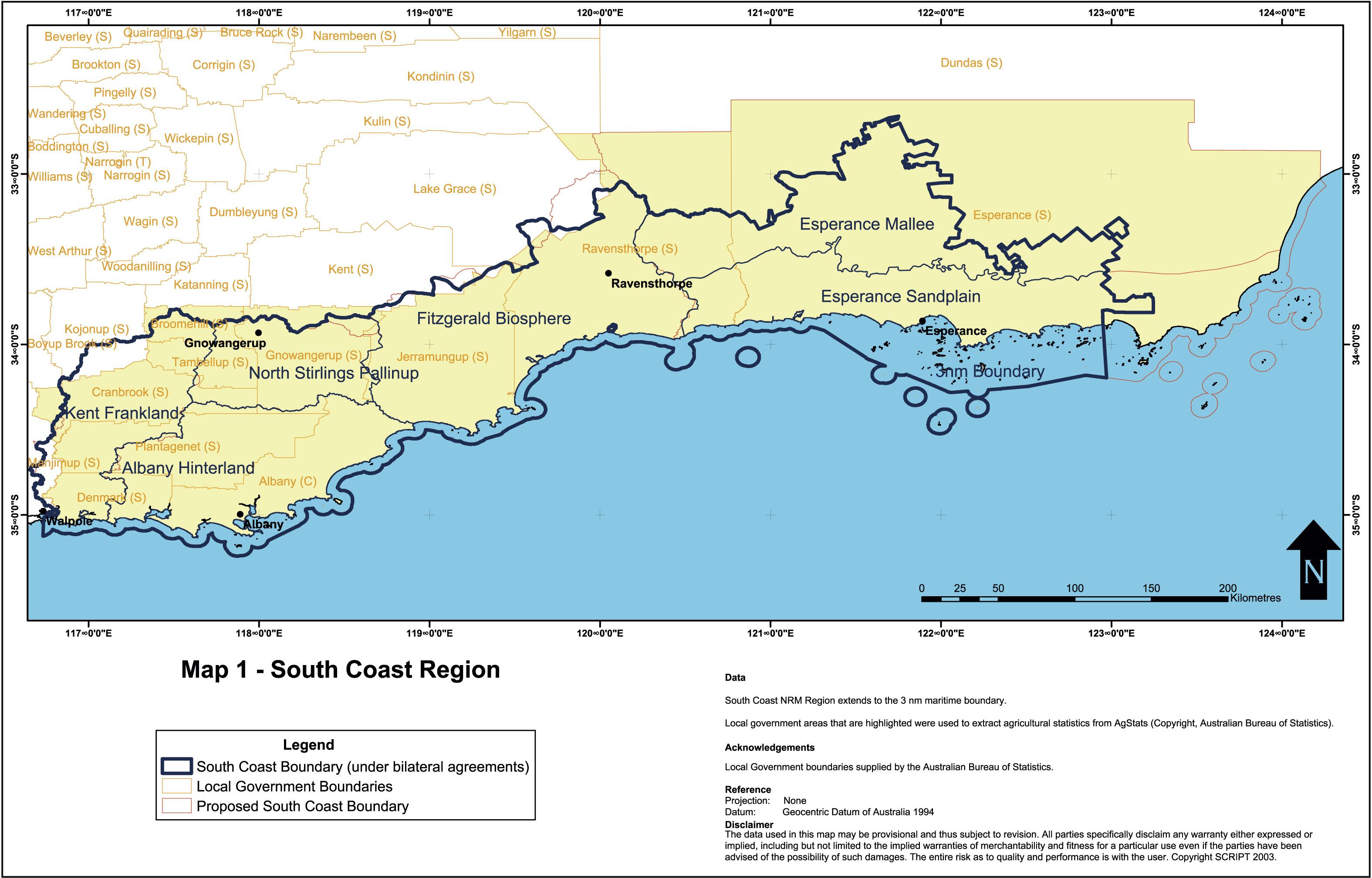 Australia South Coast Region Map Esperance Australia mappery