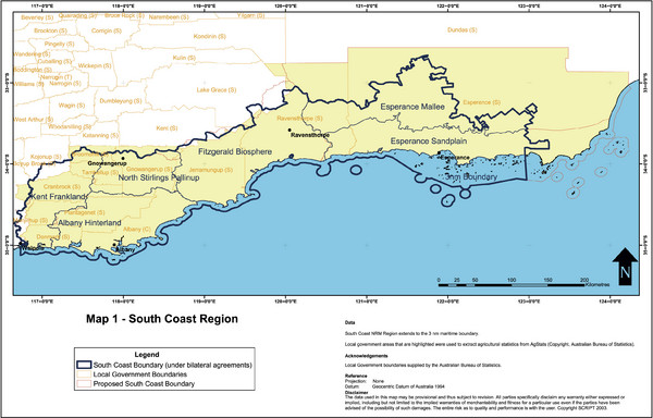 Australia South Coast Region Map