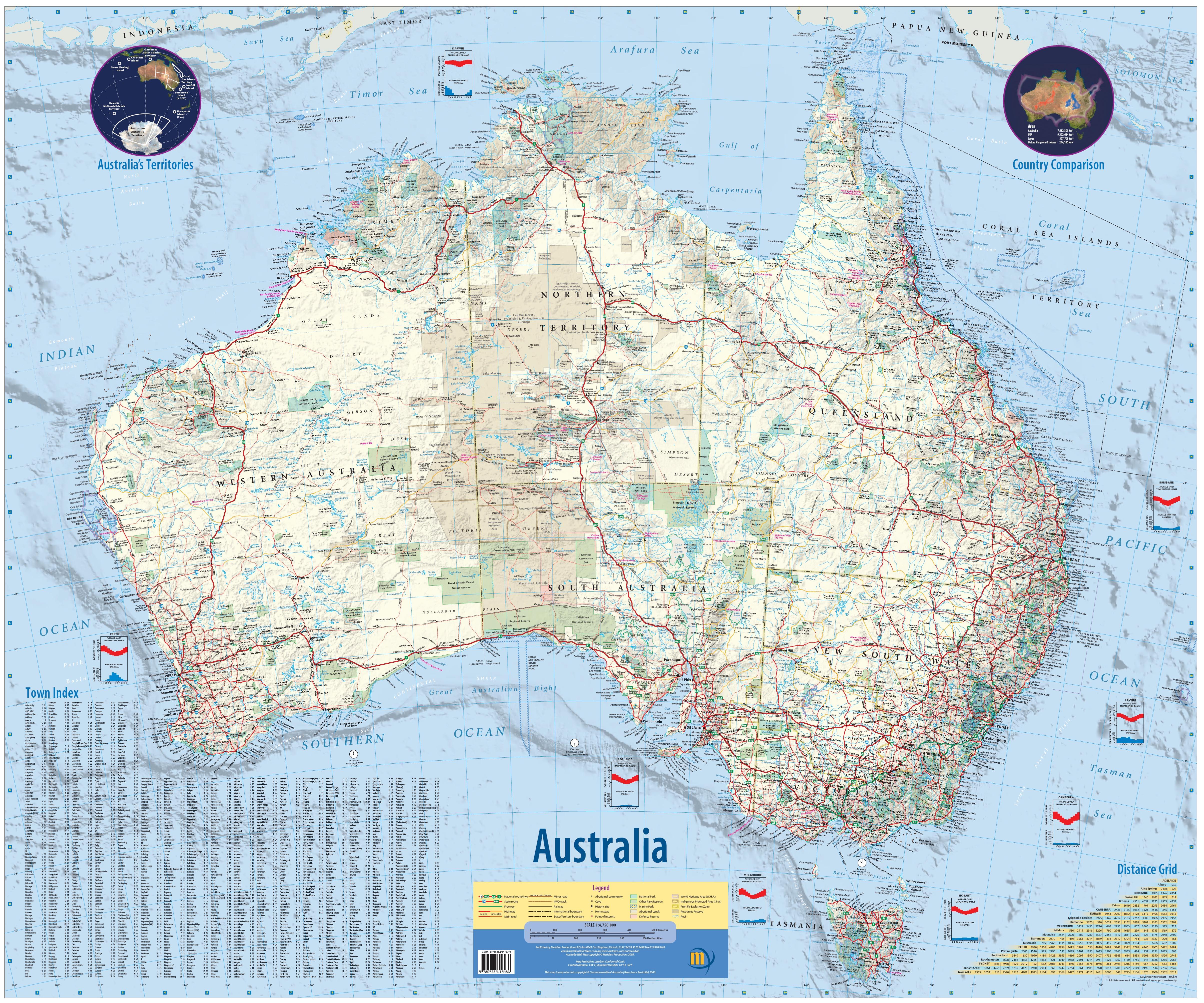 Australia Wall Maps | Metro Map | Bus Routes | Metrobus Way Map ... Australia Wall Maps