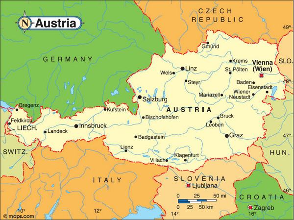 Austria Tourist Map Austria Mappery - Austria europe map