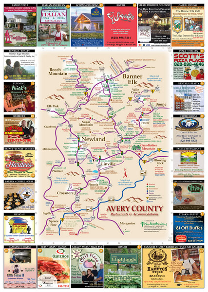 Avery County Restaurants Map Banner Elk NC • mappery