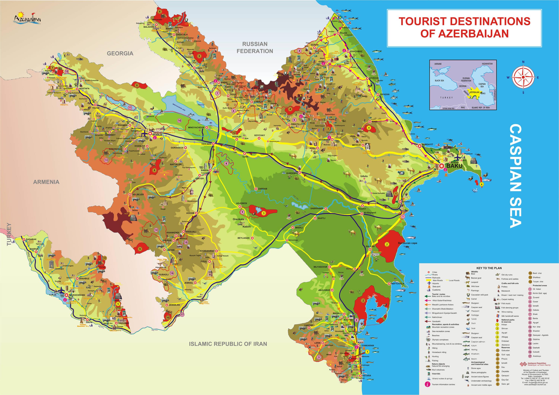 Azerbaijan Tourist Map Azerbaijan Mappery - Azerbaijan map
