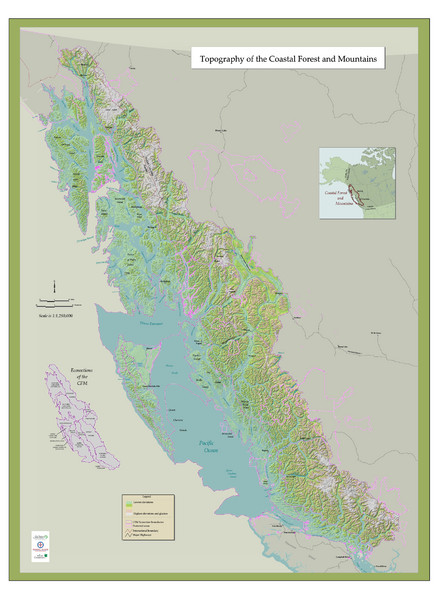 Fullsize BC and Alaska Coastal Forest and Mountains Map