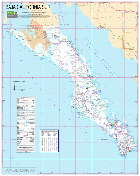 Map Of California Mexico.Baja California Map South Canelo Mexico Mappery
