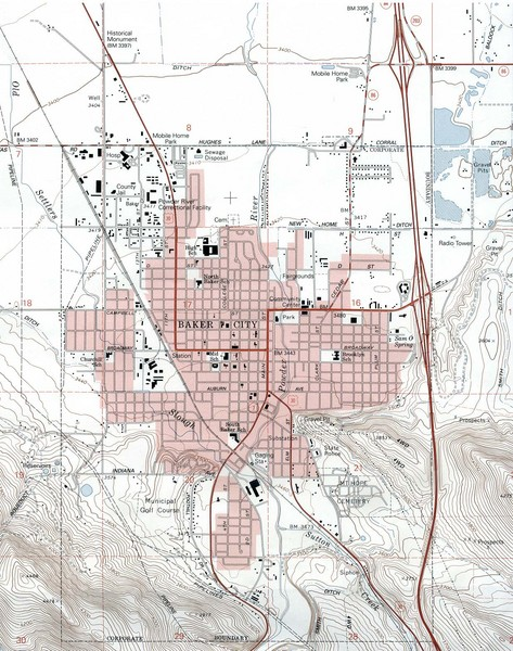 Baker City, Oregeon Tourist Map
