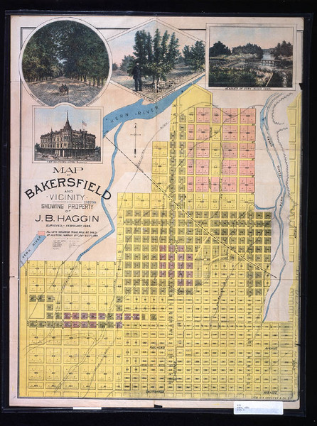 Bakersfield California 1889 Map