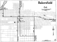 Bakersfield California, 1917 Map