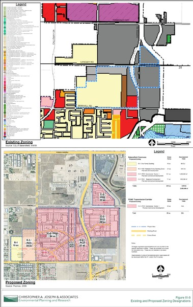 Bakersfield Commons Existing and Proposed Zoning Map