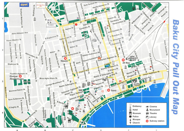 Baku, Azerbaijan Tourist Map