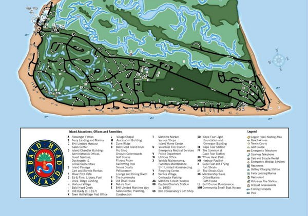 Bald Head Island Tourist Map