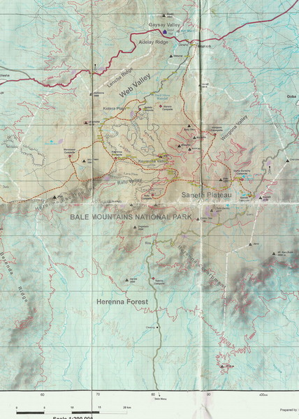Bale Mountains National Park Map