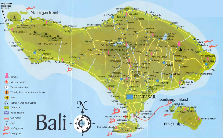Carte Bali Serangan.Bali Tourist Map Bali Mappery