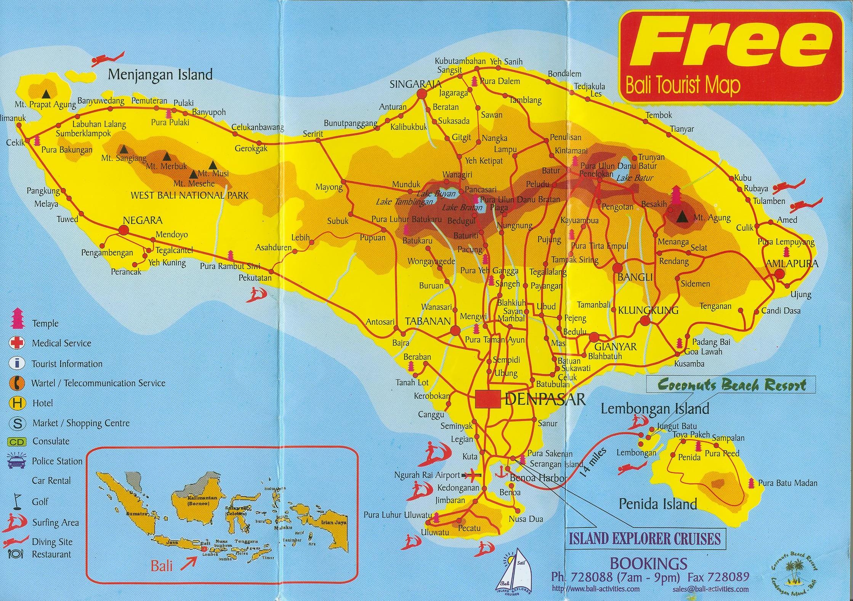Pulau Bali Map Bali Tourist Map Bali •