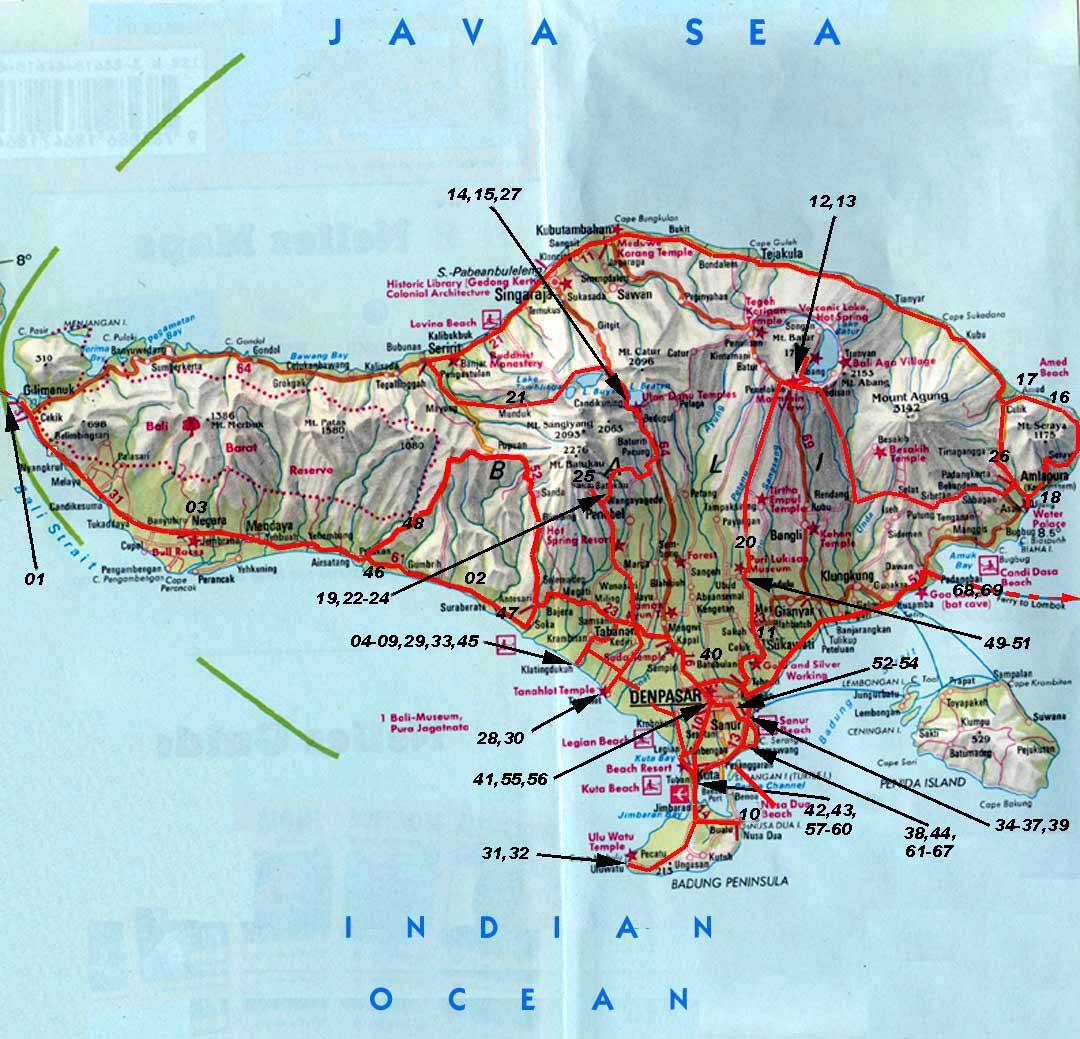 Bali trek map bali mappery gumiabroncs Choice Image