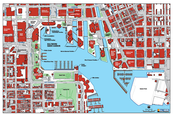 Baltimore Harbor Map Baltimore MD US mappery