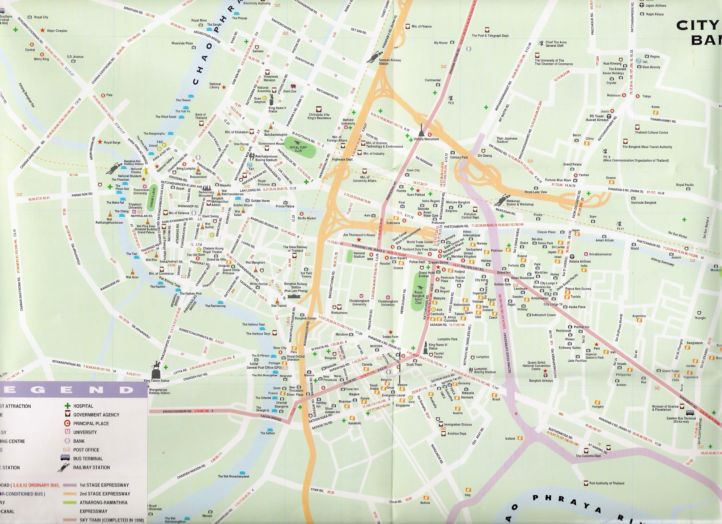 Complete Bangkok Thailand Street Map for Visitor – Bangkok Tourist Attractions Map