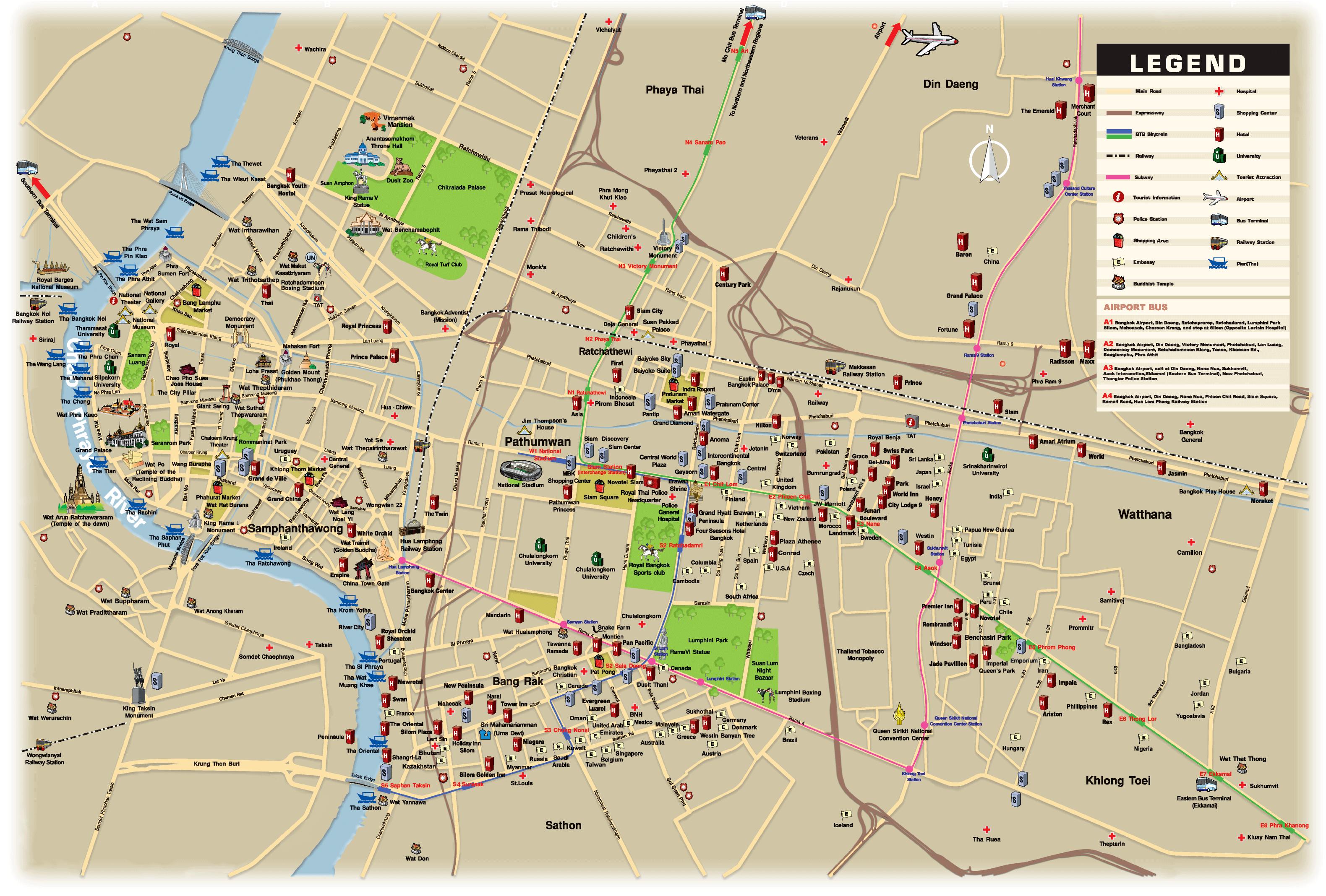 Bangkok Map - Bangkok Thailand • mappery