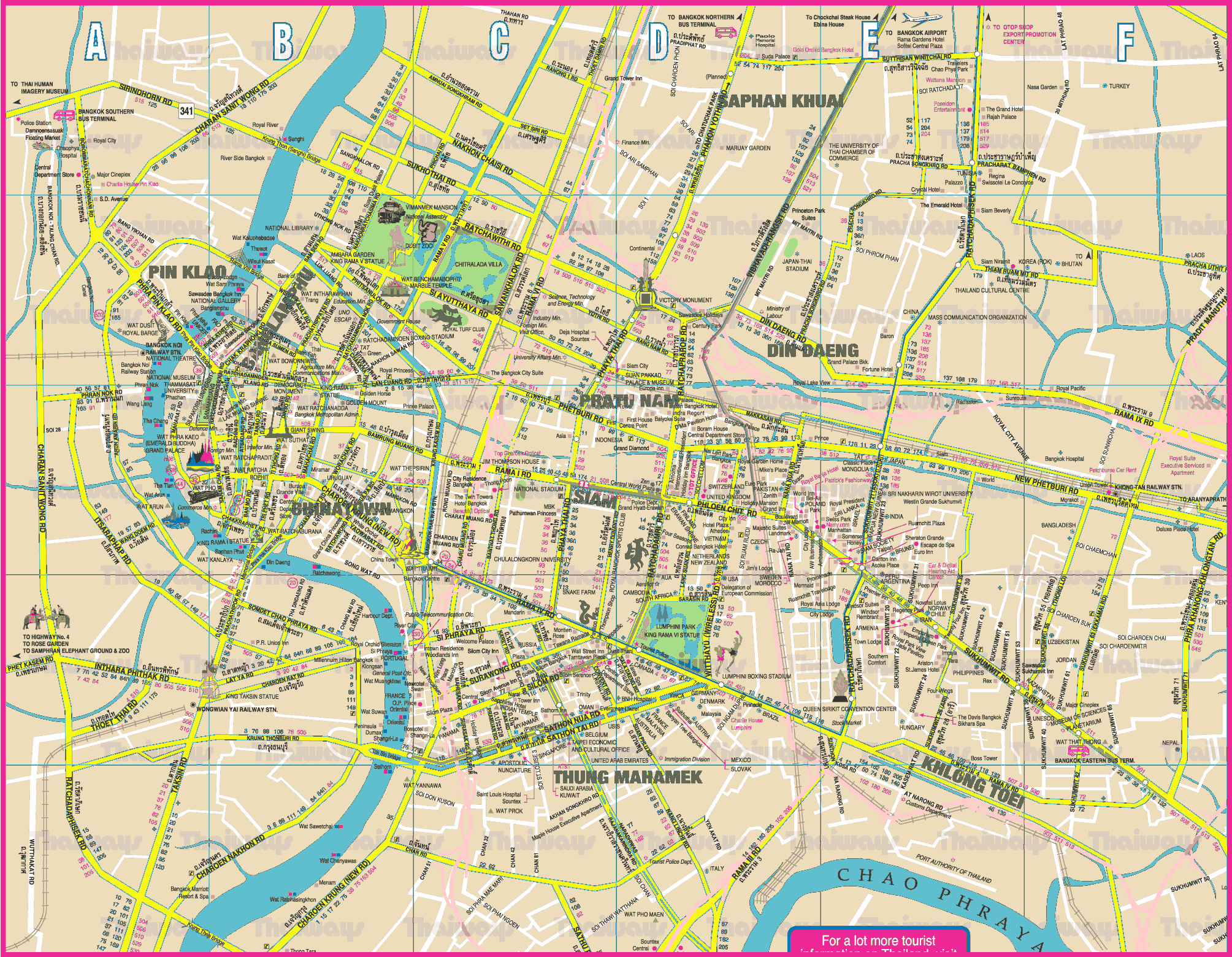 Bangkok Tourist Map Bangkok Thailand mappery