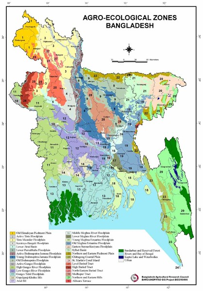Bangladesh Agro Ecological Zones Map Mappery - Map of bangladesh