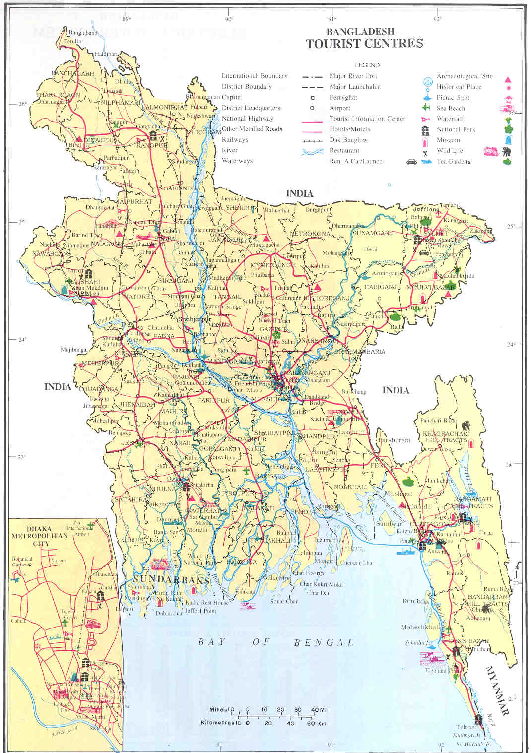 Bangladesh Tourist Center Map - Bangladesh • mappery