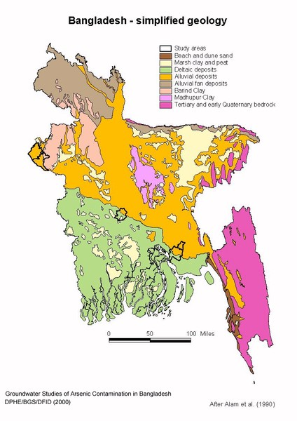 Bangladesh simplified geology Map