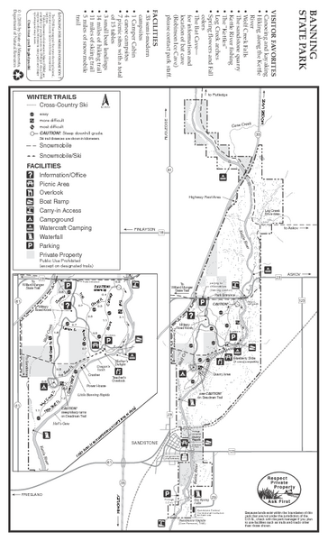 Banning State Park Winter Map