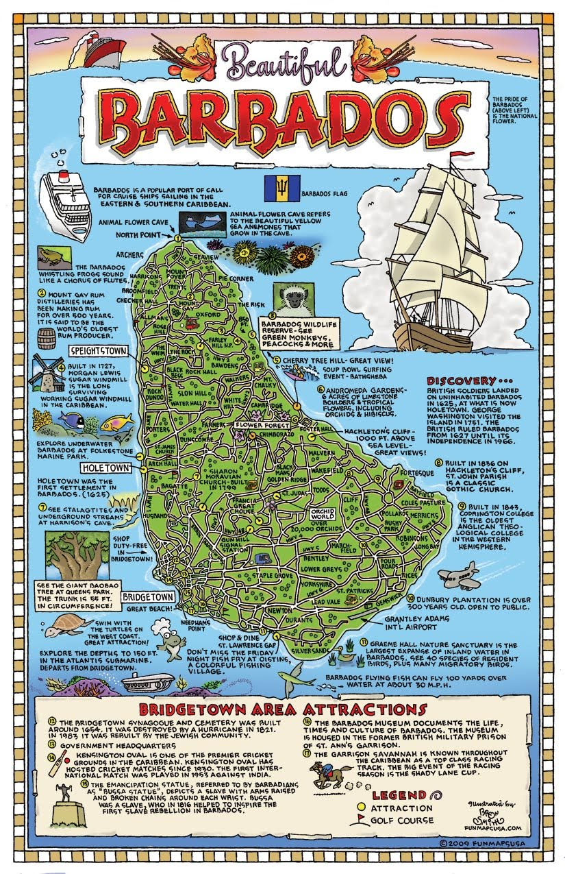 barbados tourist map • mappery -