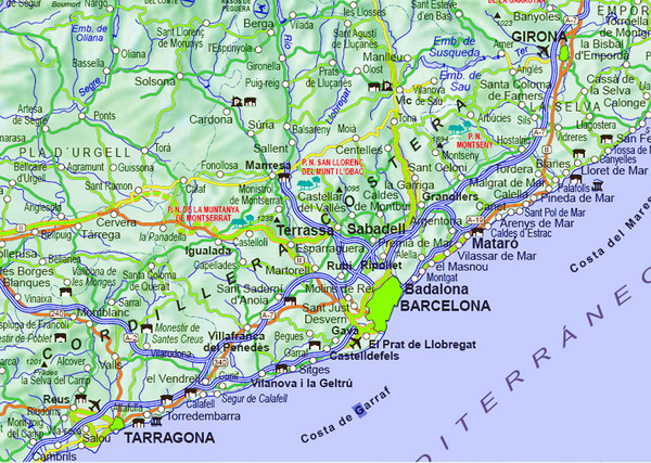 Map Of Spain With Barcelona.Barcelona Surrounding Area Road Map Barcelona Spain Mappery