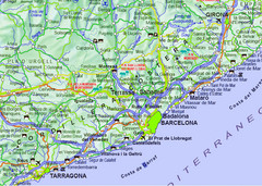 Barcelona Surrounding Area Road Map