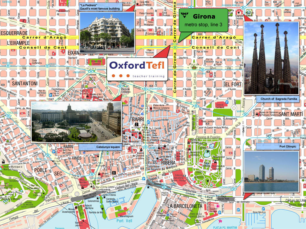 barcelona city map attractions view images barcelona tourist