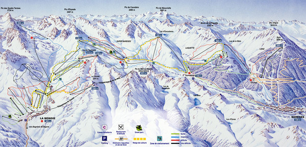 Bareges/La Mongie Ski Trail Map