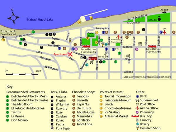 Bariloche Center Tourist Map