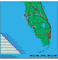 Baseball Spring Training in Souther Florida Map