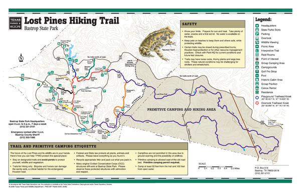 Bastrop, Texas State Park Facility and Trail Map