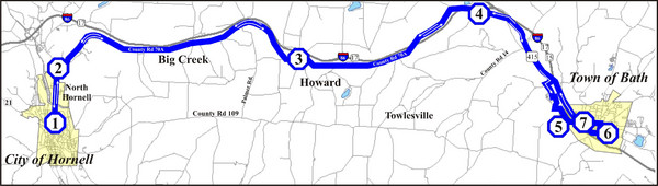 Bath-Hornell Bus Route Map