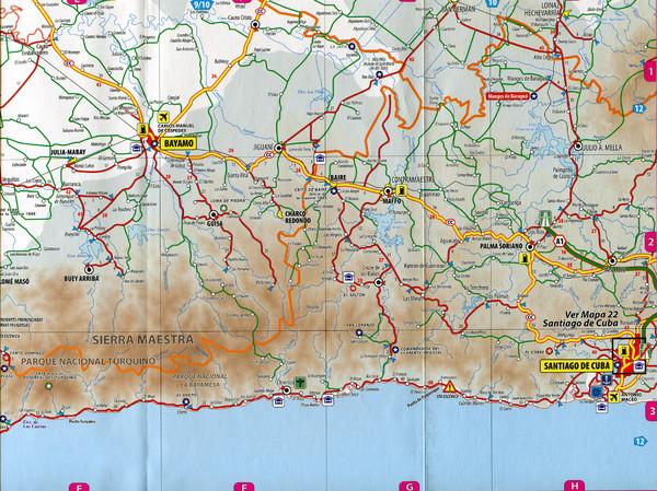 Bayamo SantiagoDeCuba Road Map Maffo Cuba mappery