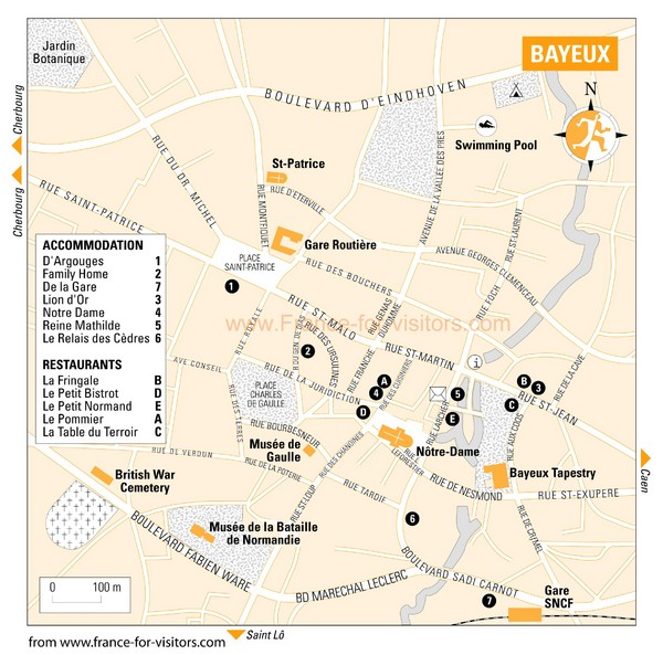 Bayeux Tourist Map Bayeux France mappery