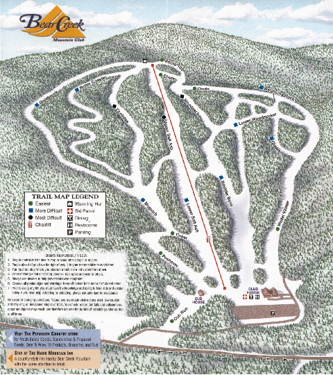 Bear Creek Mountain Club Ski Trail map