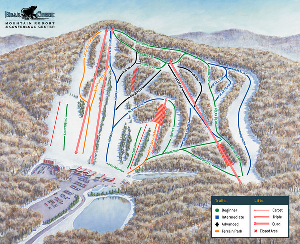Bear Creek Ski & Recreation Area Ski Trail Map