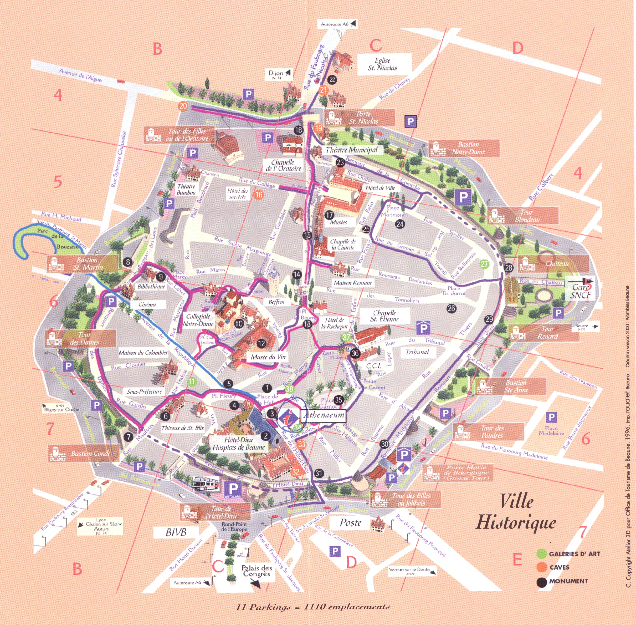 Beaune (Бон), Бургундия, Франция - достопримечательности на карте города, туристический маршрут по Бону