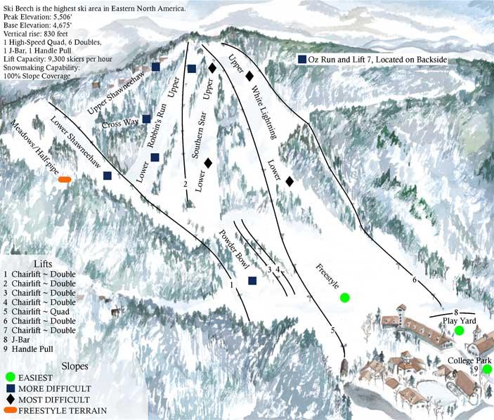 Beech Mountain Ski Resort Ski Trail Map Banner Elk North Carolina United States  E  A Mappery