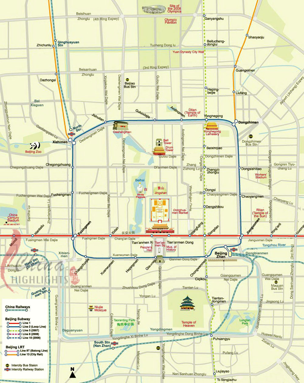 Beijing City Center Map Beijing mappery