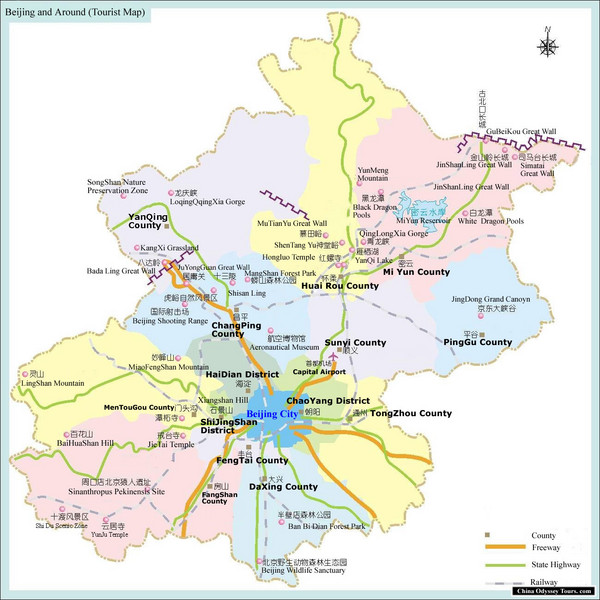 Beijing and Surrounding Area Tourist Map