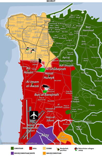 Beirut Relgions Divides Map
