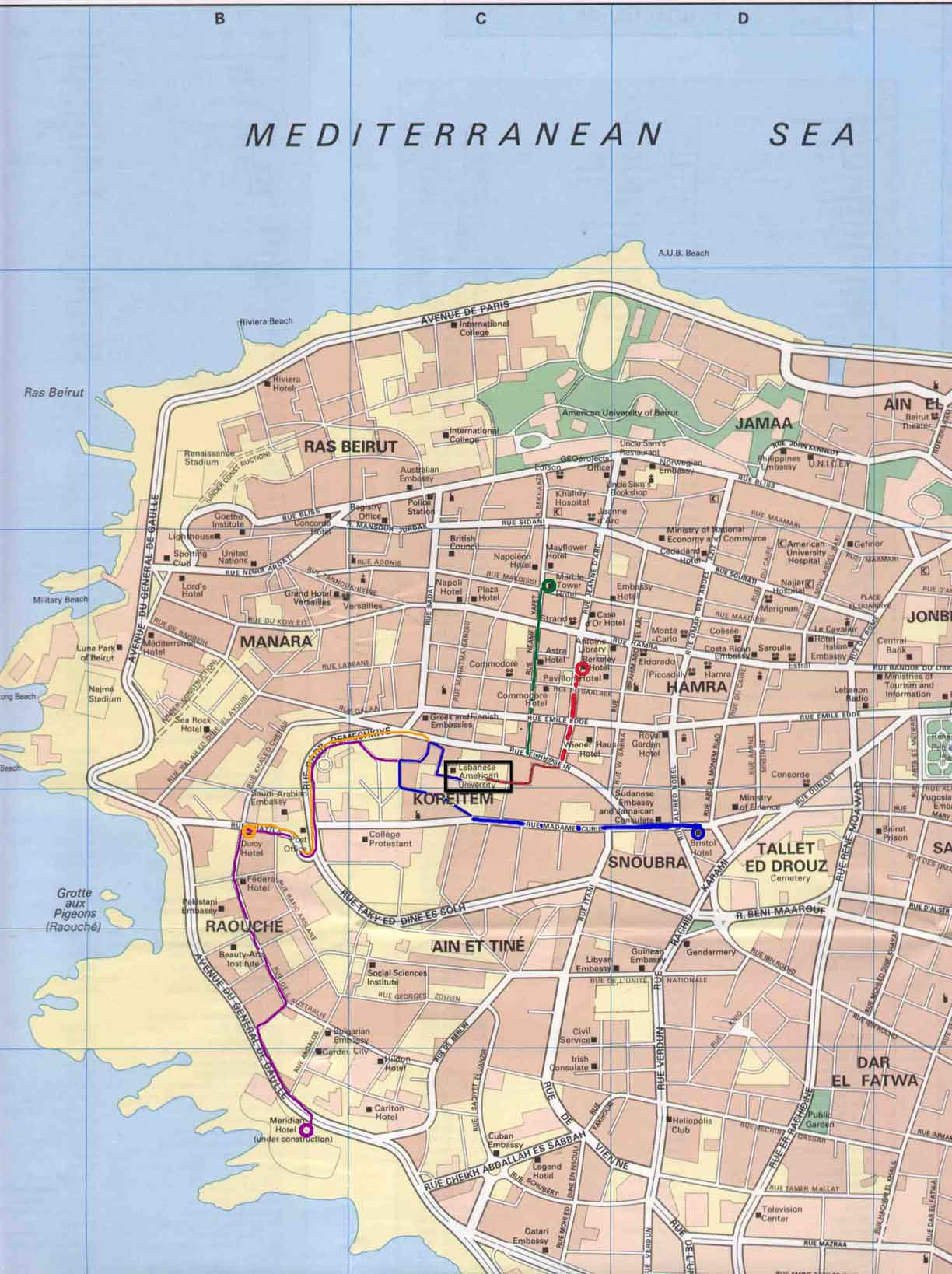 Beirut Tourist Map Beirut mappery