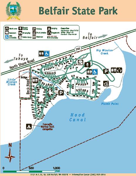 Camping Washington State Map.Belfair State Park Map Belfair State Park Belfair Washington 98528